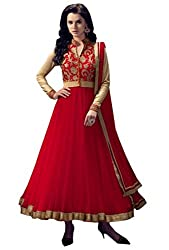 OMSAI FASHION Women's red net Embroidery semi stitched Free Size Salwar Suit (Women's red Indian Clothing )