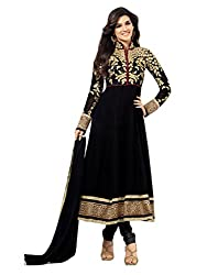 1 Stop Fashion Wear this Eye catching attire and get noticed in your circle. Black color Georgette top is Attractive Golden work. Black Santoon bottom and Black Chiffon cotton dupatta is combined perfectly in this dress material. This stylish attire will enhance your charm. Accessories shown in the image are for photography purpose. (Slight color variation is possible)