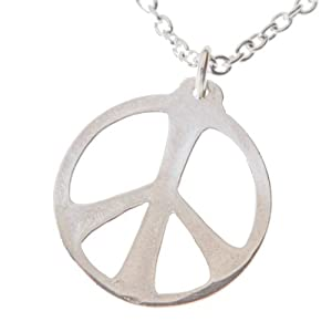 Medium Peace Symbol Silver-dipped Pendant Necklace on 18