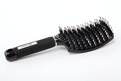 CCheng Boar Bristle Brush,Best Hair Brush,Reduces Frizz,Scalp Stimulation,Over Sized- 100% Professional Natural Boar Bristles Promotes Healthy Oil Distribution (Curved Hair Brush compare prices)