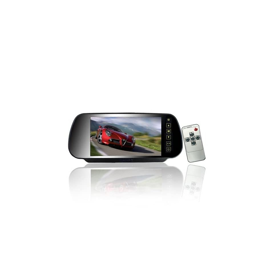 7 Inch 169 TFT LCD Widescreen Car Rearview Monitor Mirror with Touch Button, 480(W)x 234(H) Screen Resolution, Car /Automobile Rear View Mirror Display Monitor Support Two Ways Of Video Output, V1/V2 Selecting