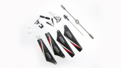 NC® BRAND - Full Set Replacement Parts for Syma S107C RC Helicopter with Camera, Main Blades, Main Shaft,Tail Decorations, Tail Prop, Balance Bar, Gear Set,Connect Buckles - Red Set-