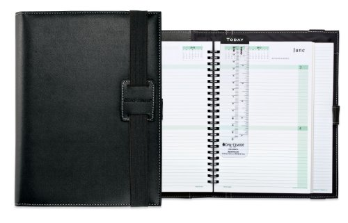 Day-Timer Casual Vinyl Wire Bound Planner, Bungee Closure, Journal Size, 9.5 x 7.5 Inches, Black (D84698)