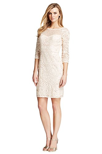 5ab62388576 Sue Wong Blush Three Quarter Sleeve Soutache Lace Embroidered Party Dress