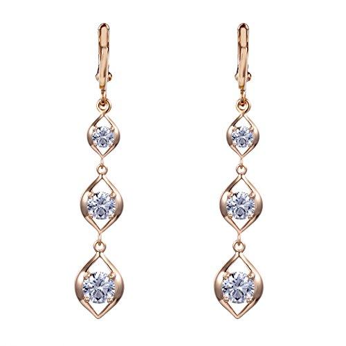 Real Spark Women Fashion Jewelry Gold Plated Chain Shiny Zircon Strand Elegant Dangle Earrings