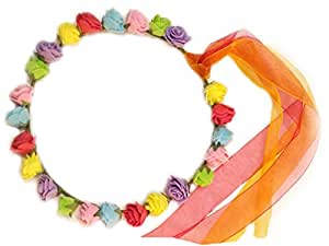 Ziggle Multicolor Roses tiara hairband with ribons