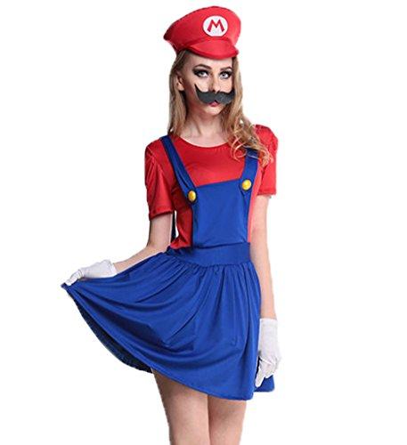 Blugibedramsh Womens Nintendo Super Mario Skirt Halloween Cosplay Adult Costume (Sexy Plumber Costume compare prices)