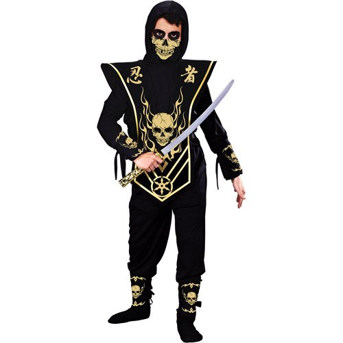 Boys Gold Skull Lord Ninja with Mask Costume, By Fun World, Boys M (8)