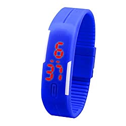 Maxxlite Silicone Sports Wristband with LED Display Unisex Watch - Bright Blue-SILICONE-WATCH-BLB
