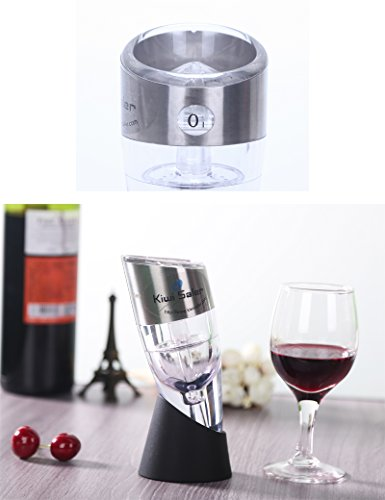 Twist Adjustable Wine Aerator with Stand and Metal Band,0-6 Speeds,Travel Pouch Included.