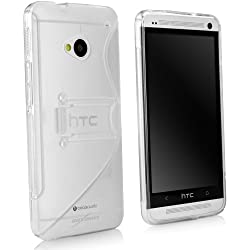 HTC One (M7 2013) Case, BoxWave [ColorSplash Case with Stand] Durable TPU Case w/ Stand for HTC One (M7 2013) - Frosted Clear