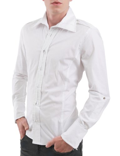 9Xis Mens Casual Basic Button Down Shirts WHITE L (9MS002)