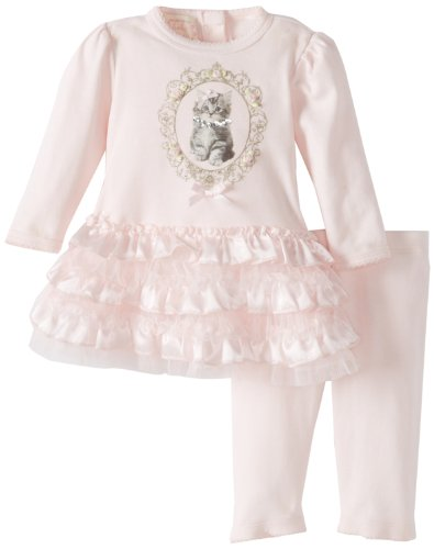 Save Price Biscotti Baby-Girls Newborn Meow Meow Dress and Legging, Pink, 6 Months