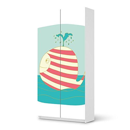 Bedruckte-Klebe-Folie-fr-IKEA-Pax-Schrank-201-cm-Hhe-2-Tren-Mbel-umgestalten-Mbelsticker-Mbel-Folie-Home-Style-Schlafzimmer-Wohnideen-Design-Motiv-Funny-Wale