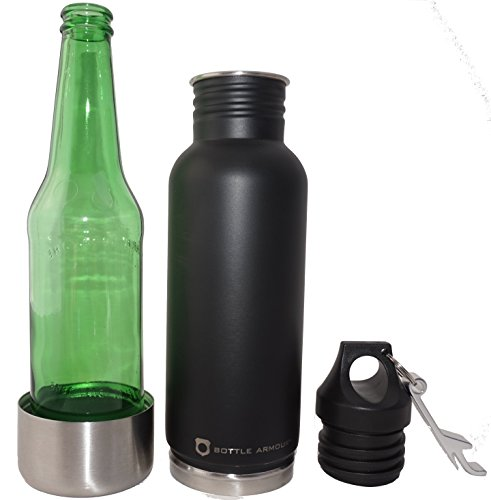 Bottle Armour Logo Stainless Bottle Insulator with Attached Bottle Opener (Matte Black - Small Logo) (Redds Apple Ale Bottle Opener compare prices)