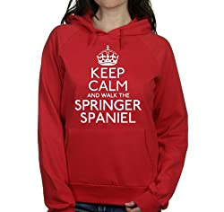 Keep calm and walk the Springer spaniel womens hooded top pet dog gift ladies Red hoodie white print