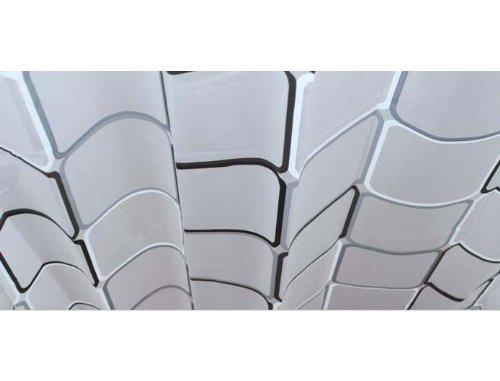 シャワーカーテン ユニットバス バスルーム PEVA 防水防カビ加工 カーテンリング付属 180×180cm A021020AA 白黒スクエア