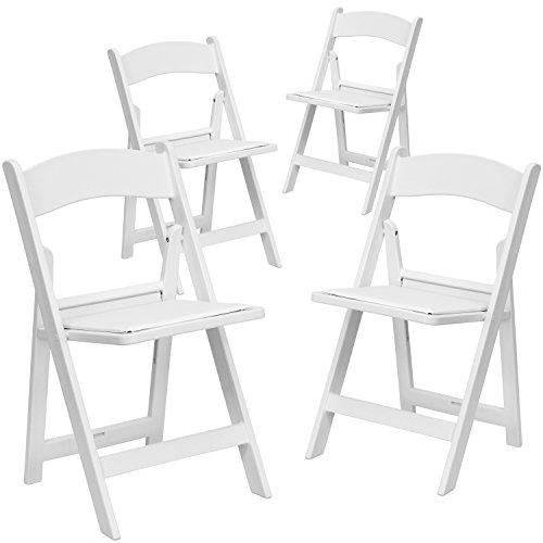 "4 Pk. HERCULESâ""¢ 1000 lb. Capacity White Resin Folding Chair with White Vinyl Padded Seat"