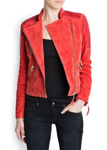 'Mango Women's Combi Leather Biker Jacket, Red, Xxs