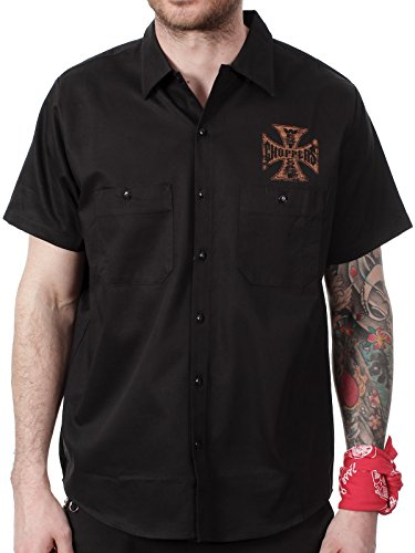 Camicia Da Lavoro West Coast Choppers Jesse James Motor Oil Logo Nero (S , Nero)