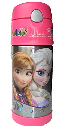 Disney Frozen Funtainer Thermos, Elsa & Anna, Pink Lid, 12 0Z front-542257