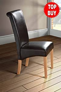 roll scroll back faux leather dining room chair brown single chair