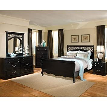 Standard Furniture Madera 4 Piece Headboard Bedroom Set in Black