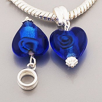 Hidden Gems(S000) Sterling Silver Bead With Blue Crystal Dangle Stone