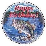 """18"""" Bass Fish Happy Birthday Fishing Party Balloon Mylar Dad Fisherman"""