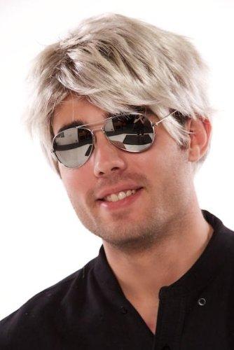 uberfun 80s Pop Star Short Blonde Brown Wig - George Michael Style.