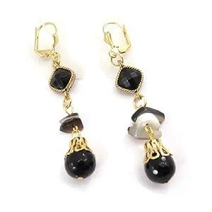 Earrings / dormeuses 'french touch' 'Scarlett' golden black.