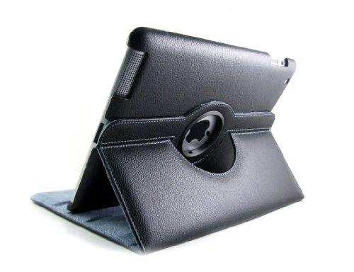 DURAGADGET Etui Rotatif de Luxe en Noir pour Apple iPad 2 (dernière génération 2011) - vue horizontale ET verticale - Garantie 5 ans