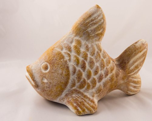 Rustic Vela Fish Ceramic Sand/Beige - Fair trade and handmade in Mexico - Indoor or outdoor use L26xH20cm
