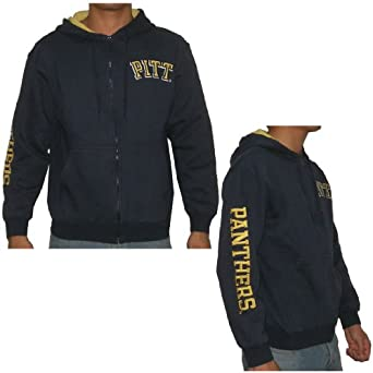 NCAA Pittsburgh Panthers Mens Athletic Zip-Up Hoodie with Embroidered Logo by NCAA