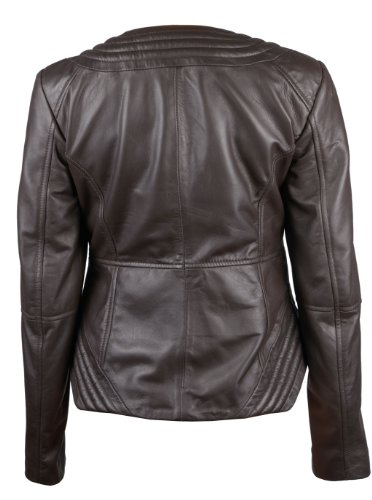 FactoryExtreme Vogue Voyager Womens Dark Brown Leather Jacket, X-Large, Brown
