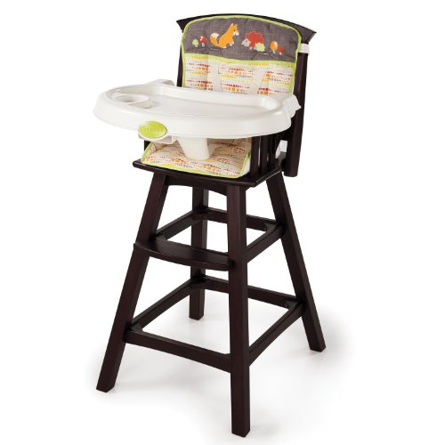 Big Save! Summer Infant Classic Comfort Wood High Chair, Fox and Friends, Espresso Stain