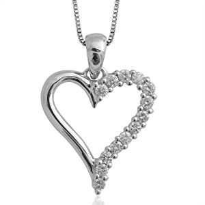 10k White Gold Heart Diamond Pendant Necklace (HI, I1-I2, 0.25 carat) by Diamond Delight
