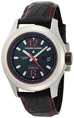 Chase-Durer Men's 990.2BR-ALLI Starburst Automatic Red-Stitched Leather Strap Watch