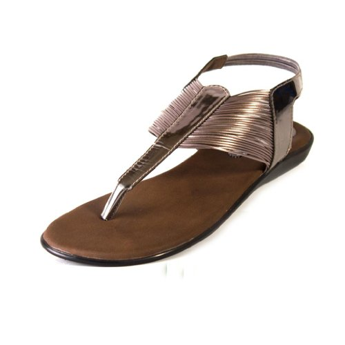 Beauty Blue Beauty Women's Gunmetal Synthetic Casual Sandals (Multicolor)