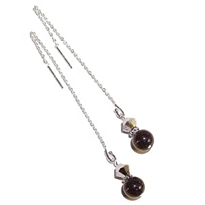 Blue Goldstone & Bonarski Crystal Sterling Silver Pull Through Earrings 110mm