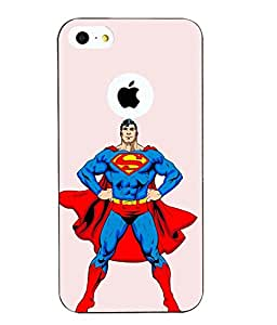 Case Cover Superman Printed White Hard Back Cover For Apple Iphone 5/5S