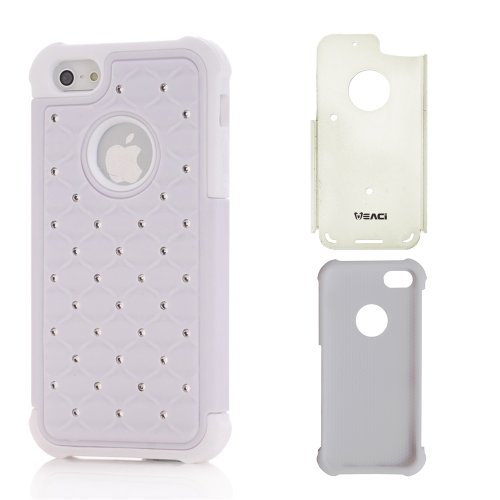 Meaci® Iphone 5 5S(Not For 5C) Combo Hybrid Case Glitter/Bling Studded Diamond Dual Layer Pc&Silicone Protective Case 1X Diamond Anti-Dust Plug Stopper(Random Color) (White)