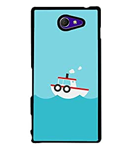 Boat In the Sea 2D Hard Polycarbonate Designer Back Case Cover for Sony Xperia M2 Dual :: Sony Xperia M2 Dual D2302
