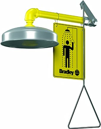 "Bradley S19-120A Galvanized Steel 1 Spray Head Horizontal Supply Safety Shower with Stainless Steel Showerhead, Wall Mount, 20 GPM Water Flow, 9"" Width x 25-1/2"" Height x 15-3/4"" Depth"