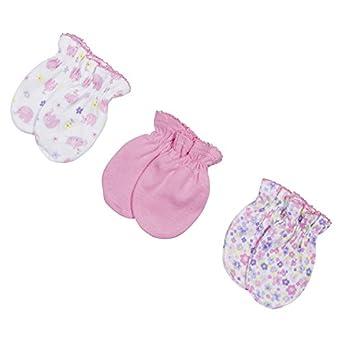 Gerber Baby Girls' 3 Pack Mitten Set, Pink - 0-3 Months