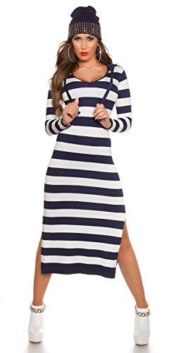 KouCla-Feinstrick-Maxikleid-mit-Streifen-Strickkleid-Longpulli-im-Stripes-Look-mit-Hoodie-Kapuze-Marine