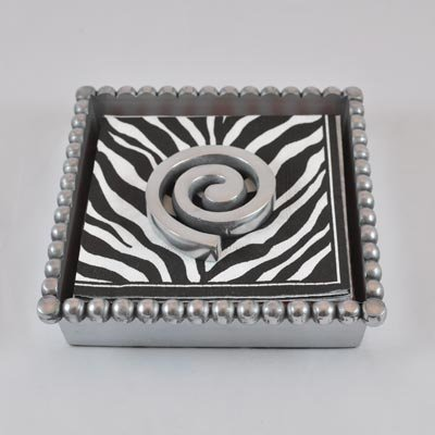 Beaded Cocktail Napkin Box with Scroll Weight цены онлайн
