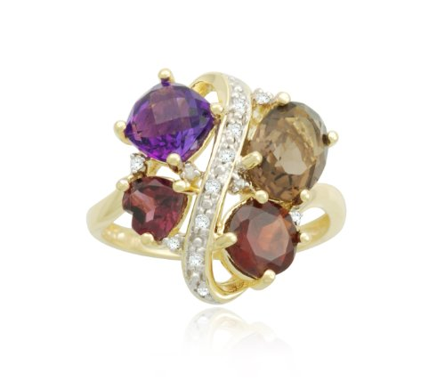 Yellow Gold Plated Sterling Silver Fashion Multi-Gemstone Diamond Ring (0.07 cttw, I-J Color, I2-I3 Clarity), Size 6