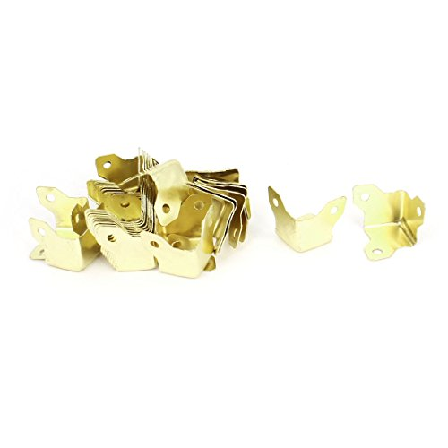 Triangle Corner Box Case Bracket Protector Edge Guard 30Pcs Brass Tone (Brass L Bracket compare prices)
