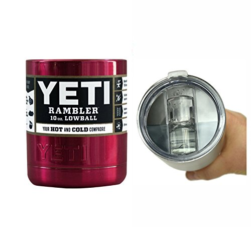YETI Coolers Powder Coated - 10 oz (10oz) Rambler Lowball Stainless Steel Tumbler Cup Mug (Candy Red)